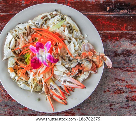Steamed crabs seafood - stock photo