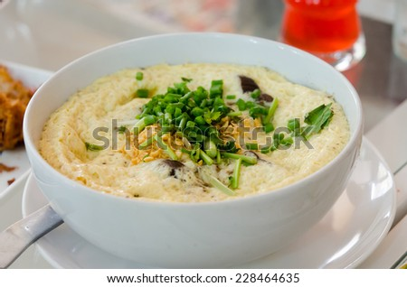 Steamed eggs on plate