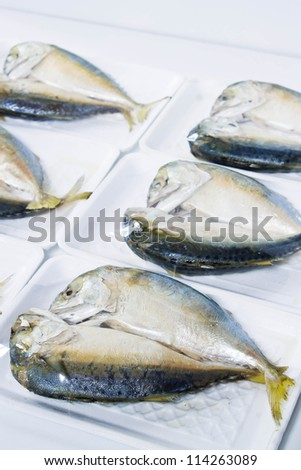 Steamed fish in wrap package - stock photo