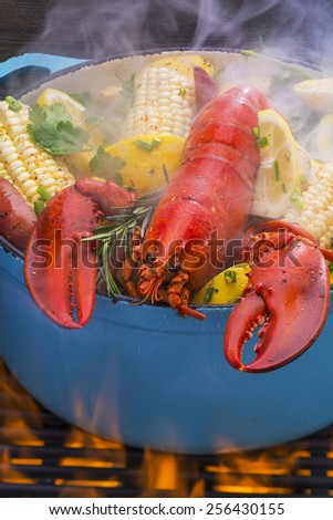 Steamed Lobster and Vegetables in a Pot  - stock photo