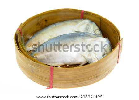 Steamed mackerel isolated on white background  - stock photo