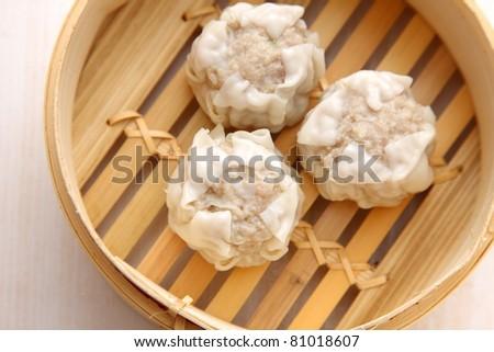 steamed meat dumpling - stock photo