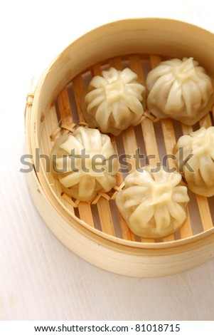 steamed meat dumpling - stock photo