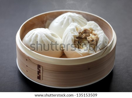 steamed pork buns, chinese dim sum - stock photo