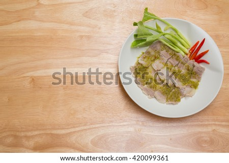 steamed pork with chilli sauce for appetizer or meal time