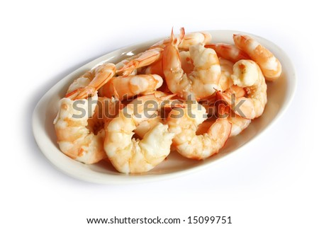 Steamed Prawns on a Plate Isolated on a White Background