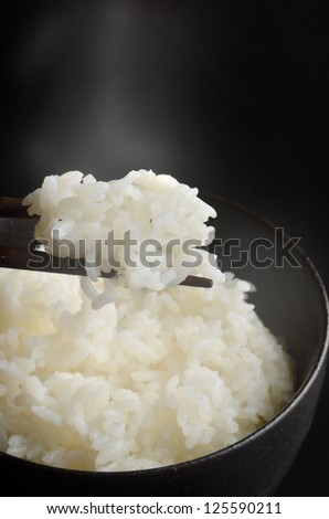 steamed rice - stock photo