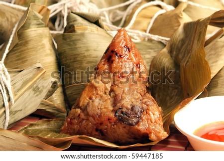 Steamed rice dumpling - stock photo