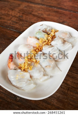 Steamed rice skin shrimp dumplings - stock photo