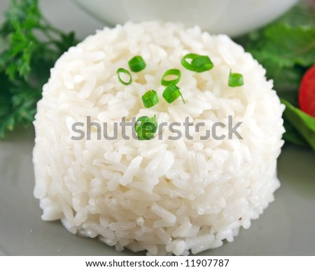 Steamed rice stack with a fresh garden salad. - stock photo