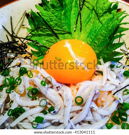 steamed rice topped with small sardines, an egg Yolk, flying Dried seaweed and Garnish with green onions. (sardines called japanese that Shirasu. Which famous fish in Kamakura) :close up photo - stock photo