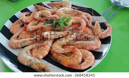 steamed shrimp - stock photo