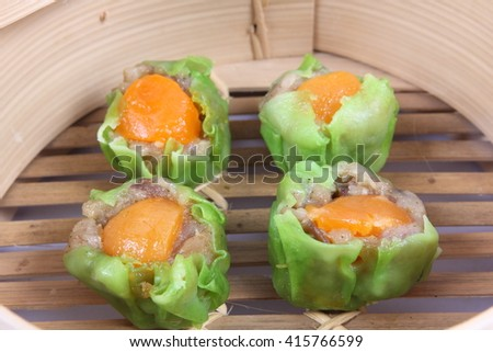 Steamed shrimp dumplings - stock photo