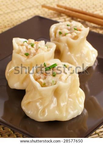 Steamed shrimp siu mai. - stock photo