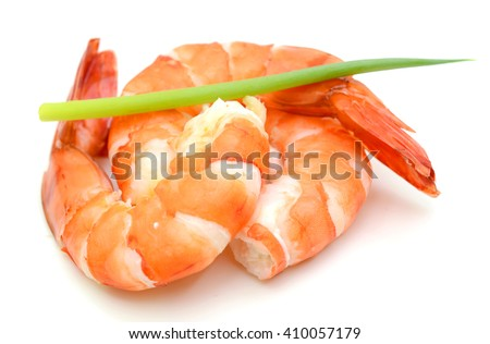 Steamed tiger shrimp isolated on white background - stock photo