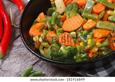 steamed vegetables in a pan horizontal. close up. top view  - stock photo