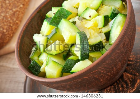 steamed zucchini with spices - stock photo