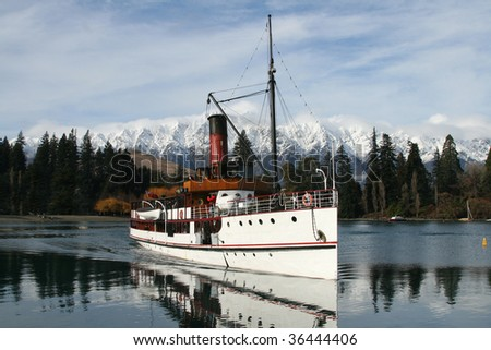 Steamer boat on lake at Queenstown, New Zealand - stock photo