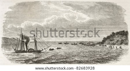 Steamer landing in Grand Andaman island, Indian ocean. Created by De Bar after Mallitte, published on Le Tour du Monde, Paris, 1860 - stock photo