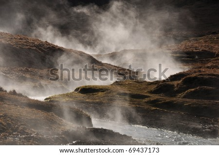 Steaming geothermal hot river, Hveragerdi, Iceland - stock photo