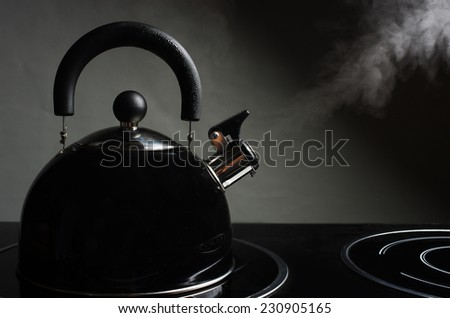 Steaming kettle - stock photo