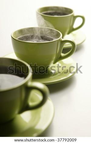 Steaming mugs - stock photo