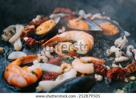 Steaming Pasta With Seafood