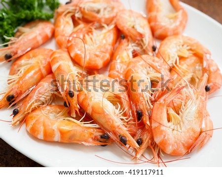 Steaming prawns  - stock photo