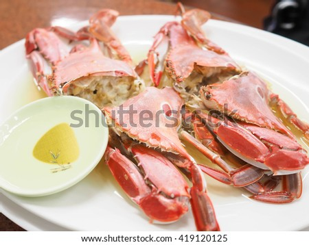 steaming sea crabs - stock photo
