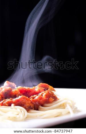 steaming spaghetti - stock photo