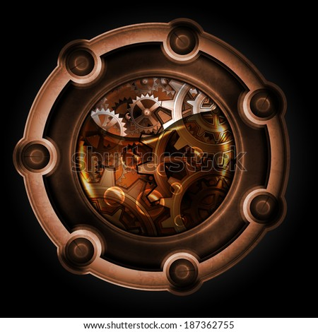 Steampunk abstract mechanism. Gears in machine oil. - stock photo