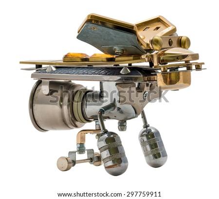 Steampunk bee. Cyberpunk style. Bronze and steel parts. Retro. - stock photo