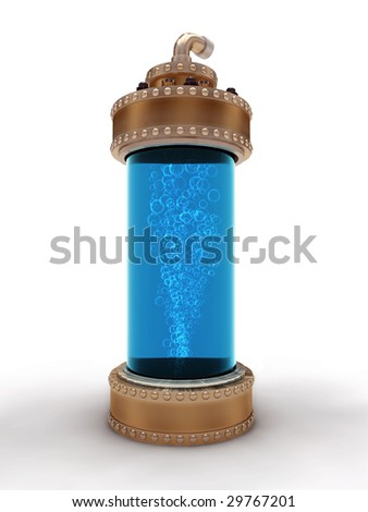 Steampunk brass laboratory bottle for experiments isolated on white background. - stock photo