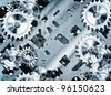 steampunk cogs and gears - stock photo
