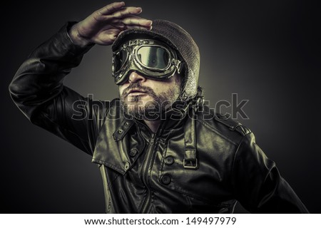 Steampunk concept, pilot vintage with big glasses - stock photo