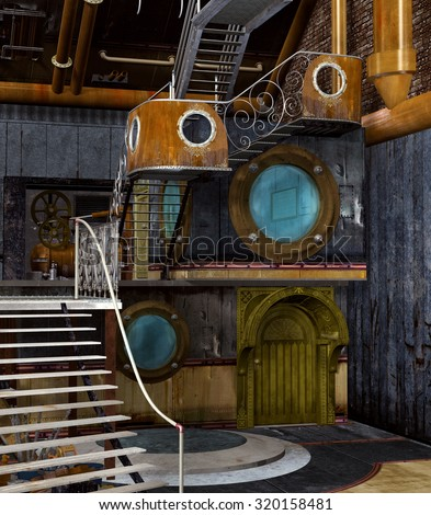 Steampunk empty interior - stock photo