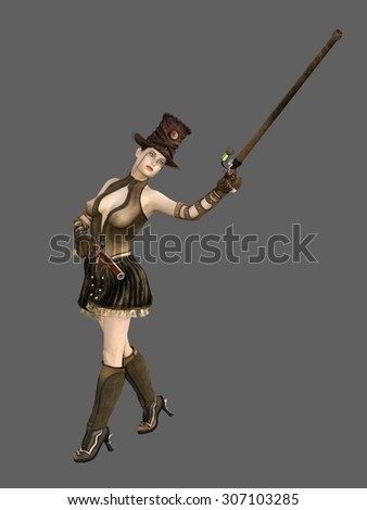 Steampunk female in ornate top hat with flintlock pistol and cane with monocle - stock photo