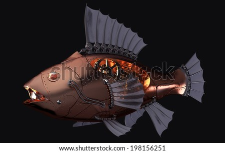 Steampunk Fish on Black Background - stock photo