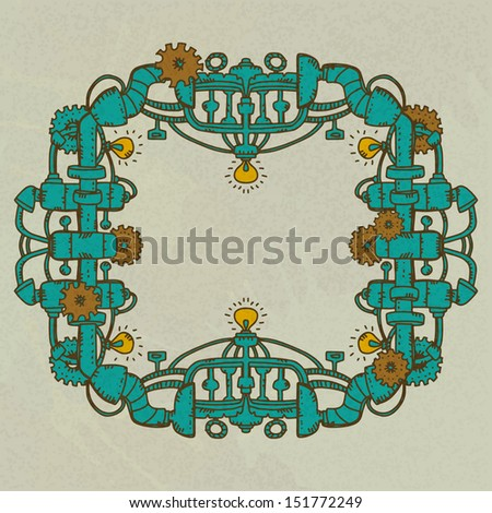 Steampunk frame isolated with space for text - raster version  - stock photo
