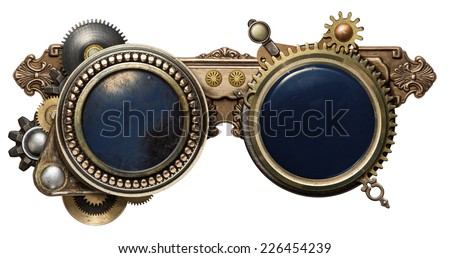 Steampunk glasses metal collage, isolated on white - stock photo