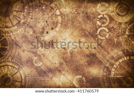 Steampunk grunge background, steam punk elements on dirty back - stock photo