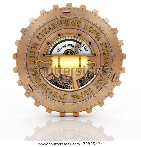 Steampunk label whith reflection isolated on white background. Excellent material for web-design. - stock photo