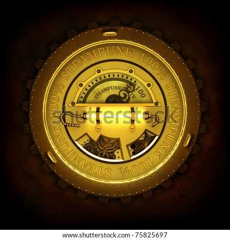 Steampunk label with reflection isolated on black background. Excellent material for web-design. - stock photo