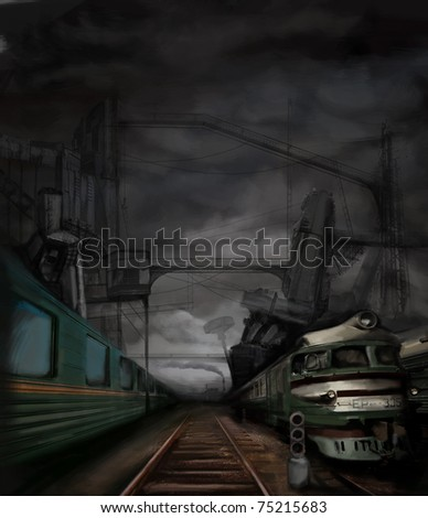 steampunk landscape with trains and metal buildings, digital painting - stock photo