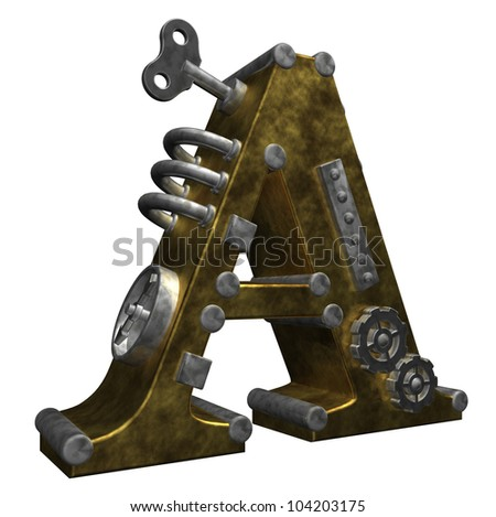 steampunk letter a on white background - 3d illustration - stock photo