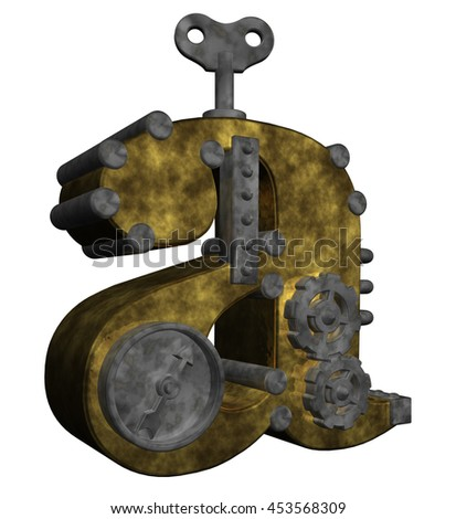steampunk letter a on white background - 3d rendering - stock photo