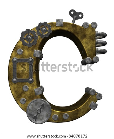 steampunk letter c on white background - 3d illustration - stock photo