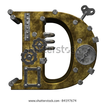 steampunk letter d on white background - 3d illustration - stock photo