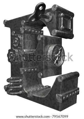 steampunk letter e on white background - 3d illustration