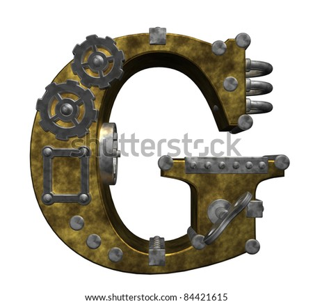 steampunk letter g on white background - 3d illustration - stock photo